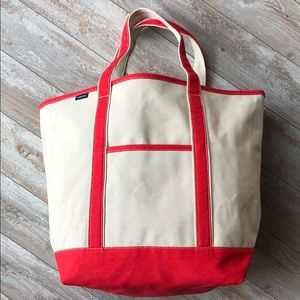 Lands' End Large Open-Top Coral Canvas Tote.197